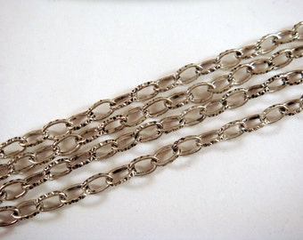 5ft Antique Silver Chain Cable Patterned Steel 5x3mm Textured Chain Not Soldered - 5 feet - STR9072CH-AS5