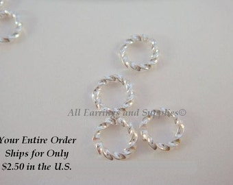 20 Silver Jump Rings 6mm Twisted Fancy Round 16 gauge 6mm Outside - 20 pc - 6356