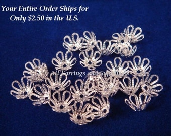 25 Silver Flower Beadcaps Silver Plated Brass Bead Caps 7mm - 25 pc - 1119-10