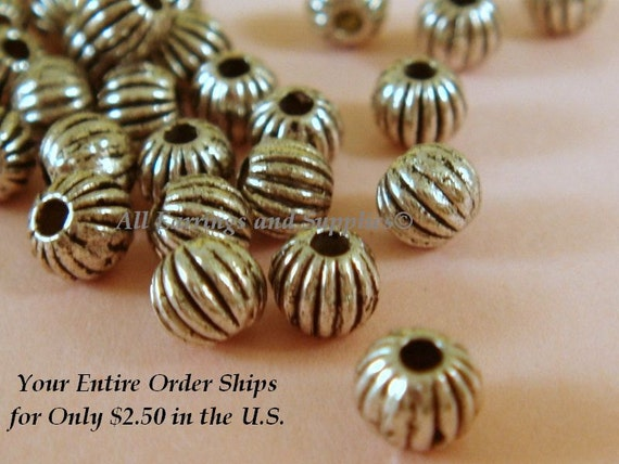 100 Antique Silver Bead Ribbed Corrugated 4mm LF/ NF/ CF - 100 pc - M7009-AS4mm100