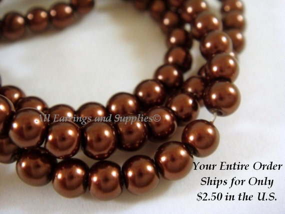 108 Brown Glass Pearls 4mm Beads - 16 inch - 5314