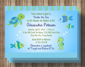UNDER THE SEA Baby Shower Invitation/ Printable Digital File/ Cute Sea  Animals Ocean Fish