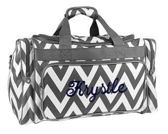 Personalized Duffle Bag Chevron Gray White Grey Ballet Dance Travel