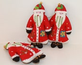 Red Santa is Coming to Town, Felt Santa Ornament