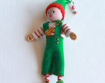 Christmas Tree Ornament, felt art doll Santa's Elf in Green Overalls, Handmade felt bendy dolls, Felt Christmas Ornament