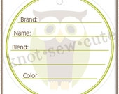 YARN TAG - Owl - Printable PDF - Instant Download