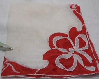 2 Vintage Hankies with Bright Red and White Beribbon Design Vintage Linen Hanky Handkerchief