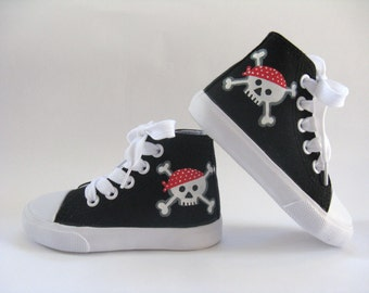Pirate Shoes, Skull and Crossbones on Black Hi Top Sneakers, Pirate Theme Costume or Birthday Party, Hand Painted for Baby or Toddler