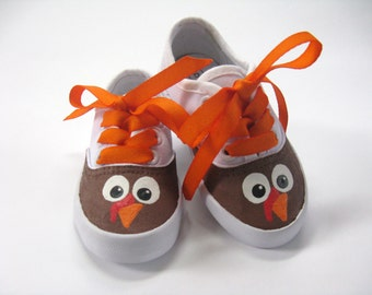 Girl's Thanksgiving Turkey Shoes,  First Thanksgiving Theme Outfit,  Hand Painted Cotton Canvas Sneakers for Baby or Toddler