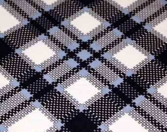 vintage 80s rayon fabric, featuring cool geometric print in black, white, grey and blue, 1 yard