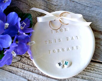 Ring Bearer Two Hearts - Natural White - Ring Bearer Bowl - Wedding Ring Dish - Wedding Ring Holder - Wedding Ceremony - Ring Pillow