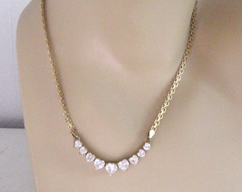 Swarovski Hearts Necklace / Gold Plated Sterling Necklace / 9 Hearts Necklace
