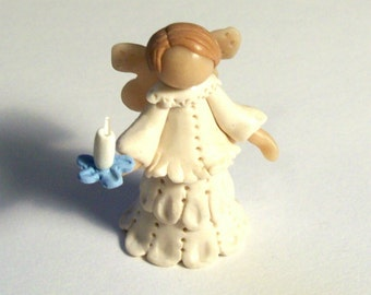 Miniature Sculpted Lacey Angel with Blue Candle One Inch Tall Hand Made Figurine