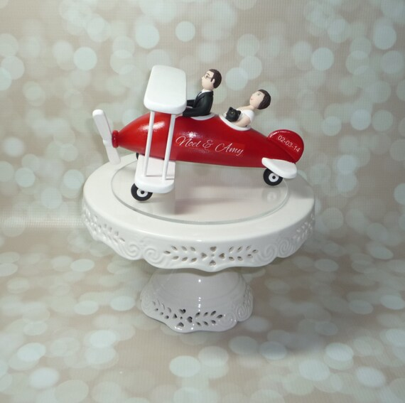 Plane Wedding Cake Topper Airplane Bride By BlueButterflyDesign