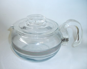 Vintage Blue Flameware Pyrex Tea Pot  Retro Teapot Serving Kitchenware