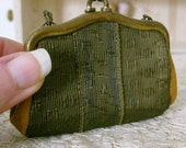 Tiny Leather and Green Silk Doll Purse with Brass Closure