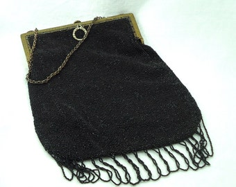 Vintage Victoran Black Microbeaded Evening Bag Purse