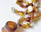 Brown Bottle Head Sterling Silver Wire Wrapped Sea Glass with Glass Beaded Necklace