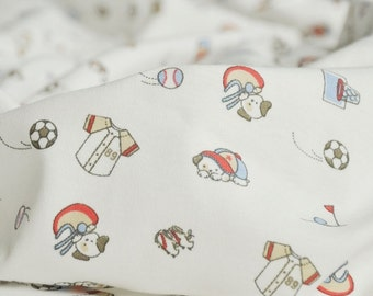 3358 - Dog Playing Balls Cotton Jersey Knit Fabric - 70 Inch (Width) x 1/2 Yard (Length)