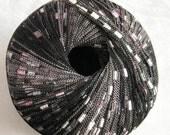 Berlini Ladder Ribbon Yarn,  PINK ZEBRA,  ribbon yarn, trellis yarn, pink black grey yarn, 88