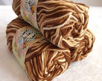 Creme de la Creme Cotton Yarn, BROWN TONES,  brown tan cream earth tones, browntones, dishcloth cotton, kitchen cotton