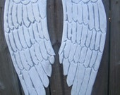 Wooden Angel Wings Distressed Grey, White and Pearl Sheen Wall Hanging Small19x6