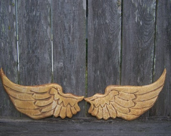 Baby Angel Wings Small Distressed Wood Golden Cherub Wings Wall Hanging