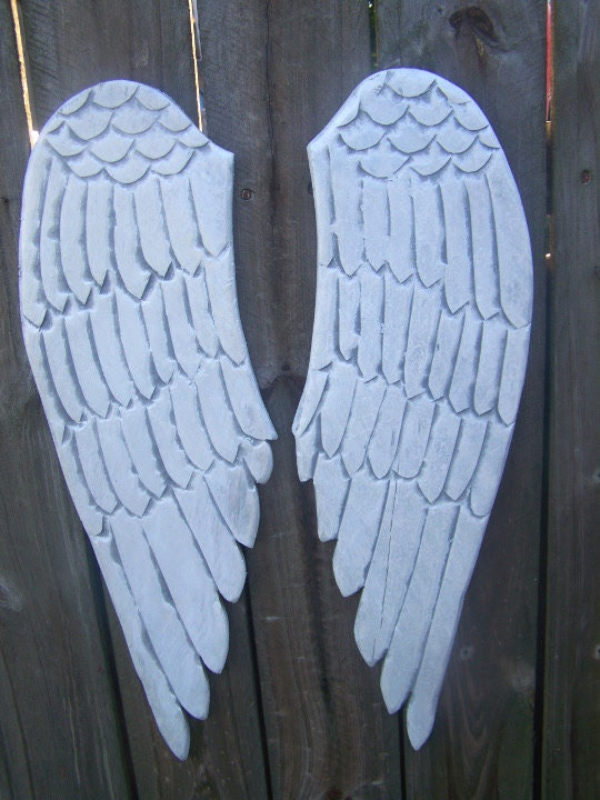 Wooden Angel Wings Distressed Grey White And Pearl Sheen Wall