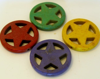 Large Howlite Star / Pentagram Beads - Set of 3