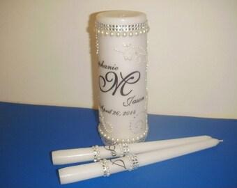 Unity Candle Set Rhinestones and Gems Personalized