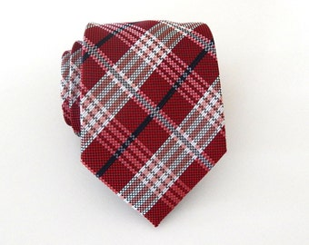 Necktie Red Plaid Mens Silk Tie
