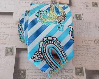Mens Ties. Necktie Teal Blue Paisley Stripes Mens Tie