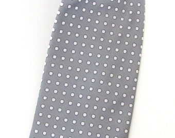 Mens Ties Necktie Gray and White Dot Mens Tie