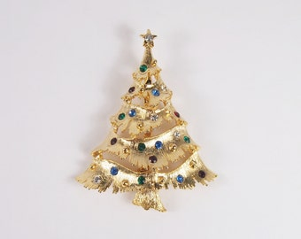 Rhinestone JJ Signed Christmas Tree Brooch Vintage 60s Jewelry