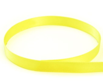 "20 Yard roll 1/4"" Double Face USA Satin Ribbon BRIGHT YELLOW"