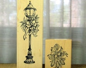 Christmas and Autumn Wood Mounted Rubber Stamps Gently Used Christmas Decorated Street Light