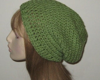 Crochet Sloucy Beanie Dread Tam Hat in Tea Leaf Green