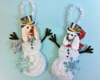 Poodle SNOWMAN vintage style CHENILLE ornaments set of 2 feather tree