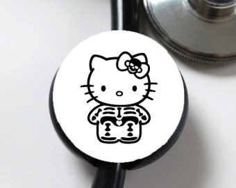 Skeleton Kitty....Stethoscope ID Tag