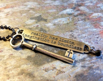 Quote key necklace, stamped jewelry, skeleton key, antique saying necklace, charm necklace, long necklace, jewelry, inspirational quote