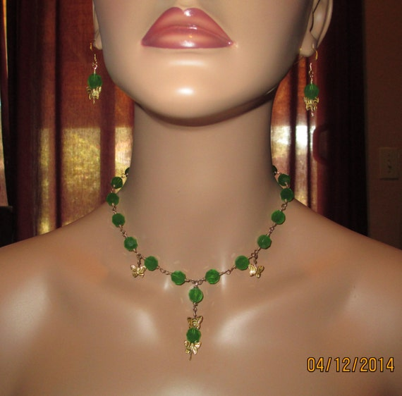 Enchanting Imperial Crystal And GF Wire Wrapped Necklace And Earring Set