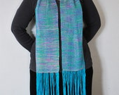 "Hand dyed, hand woven silk ""Waterfall"" scarf. REDUCED PRICE"