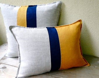 Nautical stripes linen pillow cover 16x12 - stripey cushion - linen canvas pillow - modern seaside decor - mustard navy natural pillow