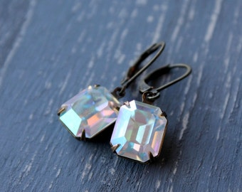 Vintage Swarovski rhinestone earrings, Crystal Clear, aurora borealis, AB,  rectangle, antiqued brass, estate style