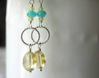 Lemon Beach Earrings Lemon Quartz Cubic Zirconia Yellow and Turquoise Sterling Silver Earrings Dangle Earrings Semi Precious Wedding
