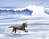 """CHOCOLATE LAB Art Print """"Chocolate Lab At The Beach"""" Watercolor Signed by Artist D J Rogers"""