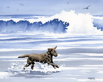 "CHOCOLATE LAB Art Print ""Chocolate Lab At The Beach"" Watercolor Signed by Artist D J Rogers"