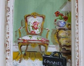 Paris Painting, ORIGINAL OIL PAINTING, Parisian Pleasures, French Furniture, Shopping, Chanel No. 5, French Commode, Fauteuil Chair, Flokati