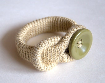 Crochet linen bracelet with olive green button Valentine gift for her beige wheat bangle cuff handmade Birthday gift for her