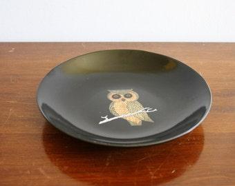 1950s vintage black owl bowl